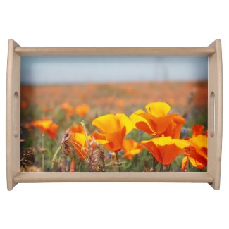 Small Serving Tray in Natural Wood with Poppies