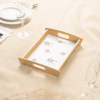 Small Serving Tray White 6 Spiders Wooden edges