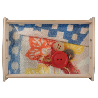 Small serving tray with vintage fabric & buttons.