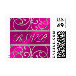 SMALL Silver and Hot Pink Filigree RSVP Postage