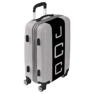 SMALL Silver + Black Monogrammed Carry On Luggage