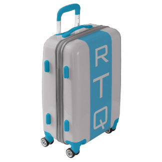 SMALL Silver + Blue Monogrammed Carry On Luggage