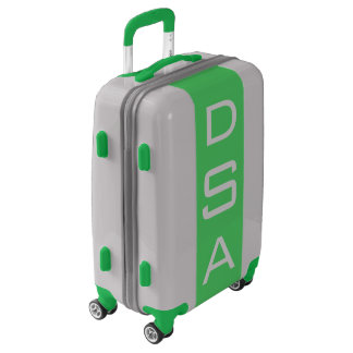 SMALL Silver + Green Monogrammed Carry On Luggage