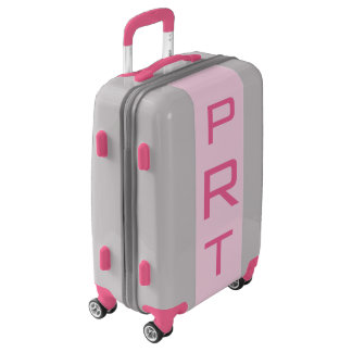 SMALL Silver + Light Pink Monogrammed Carry On Luggage
