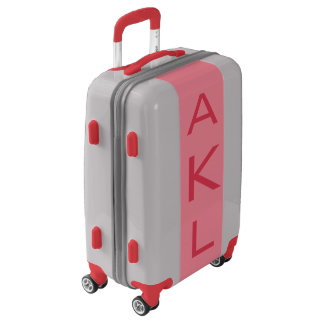 SMALL Silver + Light Red Monogram Carry On Luggage