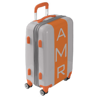 SMALL Silver + Orange Monogrammed Carry On Luggage