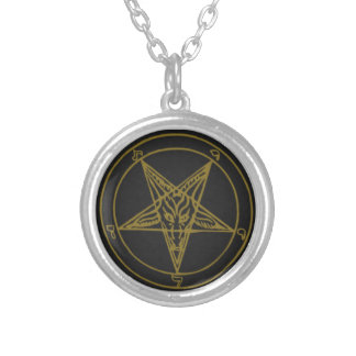 Small Silver Plated Gold Baphomet Necklace