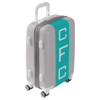 SMALL Silver + Turquoise Monogram Carry On Luggage