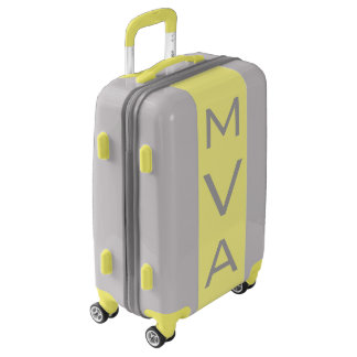 SMALL Silver + Yellow Monogrammed Carry On Luggage