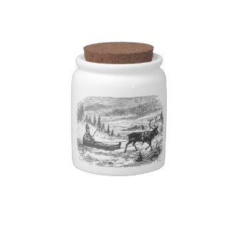 Small sleigh and reindeer candy jars