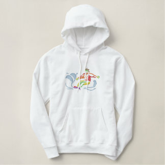Small Snowboarding Outline Embroidered Hoodie