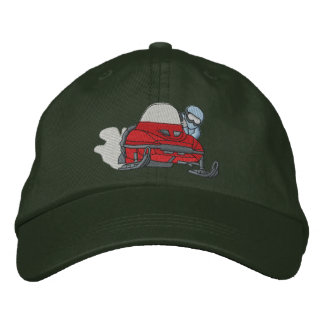 Small Snowmobile Embroidered Baseball Hat