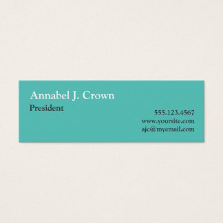 Small solid teal company logo traditional custom mini business card