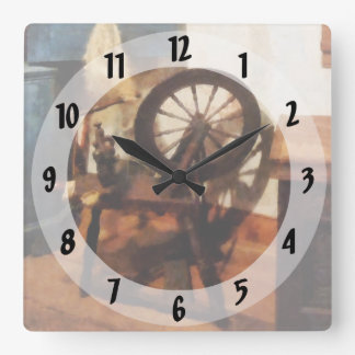 Small Spinning Wheel Square Wall Clock