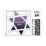 Small Square Purple Star of David Mazal Tov Postage