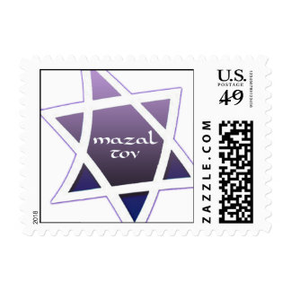 Small Square Purple Star of David Mazal Tov Postage