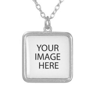 Small Square Silver Plated Create Your Own Square Pendant Necklace