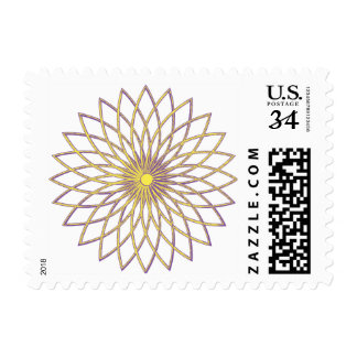"Small stamp, 1.8"" x 1.3"" GEOMETRIC CIRCLE FLOWER Postage"
