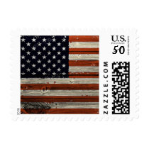 Small Stamp with American Wood Flag Print