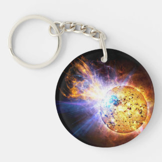 Small Star Large Flare Double-Sided Round Acrylic Keychain