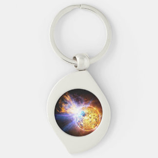 Small Star Large Flare Silver-Colored Swirl Metal Keychain