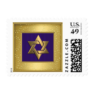 SMALL Star of David Gold Shimmer Frame Postage Stamps