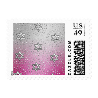 Small Star of David Pink Shimmer Gradient Silver Stamp