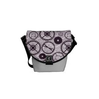 Small Steampunk watch gear and damask pattern Messenger Bag