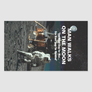 Small Step for Man on Moon Giant Leap for Mankind Rectangular Sticker