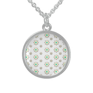 Small sterling sliver round flower necklace