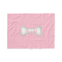 SMALL Sweet in Pink Damask Dog Bone Fleece Blanket