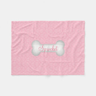 SMALL Sweet in Pink Damask Dog Bone Fleece Blanket