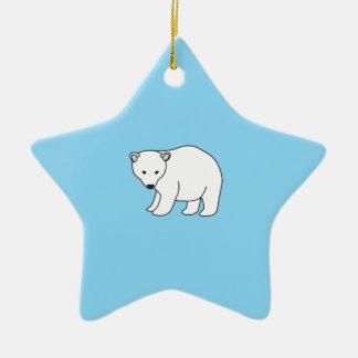 small, sweet polar bear ceramic ornament