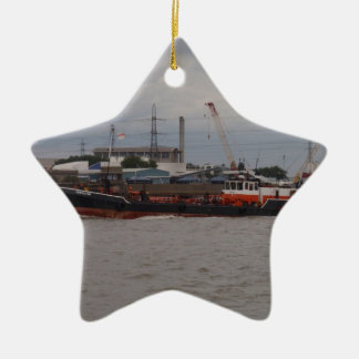 Small Tanker On The Thames Ceramic Ornament