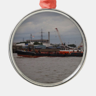 Small Tanker On The Thames Metal Ornament