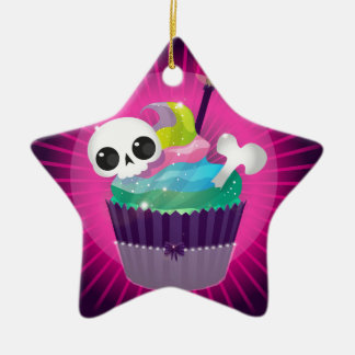 Small tasty cake with a skull for a gothic party ceramic ornament
