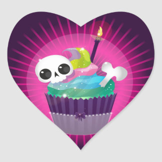 Small tasty cake with a skull for a gothic party heart sticker