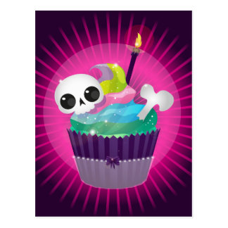 Small tasty cake with a skull for a gothic party postcard