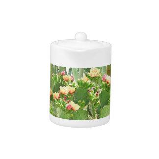 Small Tea Pot - Orange Cactus Blooms