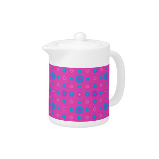 Small Teapot: Magenta: Bright Blue Dots