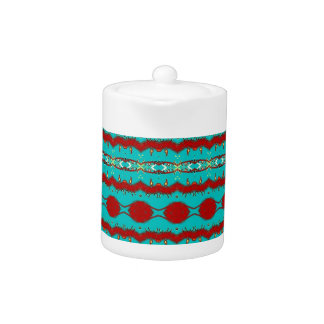 Small Teapot with Teal and Red Abstract