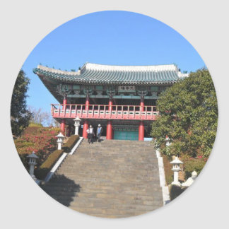 Small Temple over Stairs, Jeju Classic Round Sticker