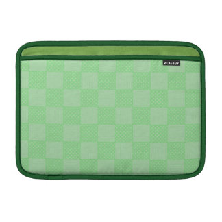 Small Textured Green Patchwork Pattern MacBook Sleeve