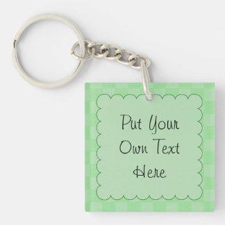 Small Textured Green Patchwork Pattern Keychain