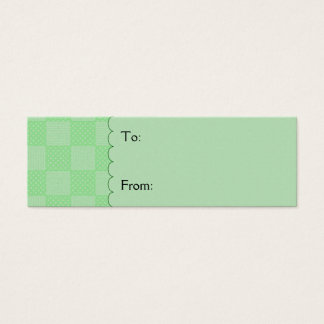 Small Textured Green Patchwork Pattern Mini Business Card