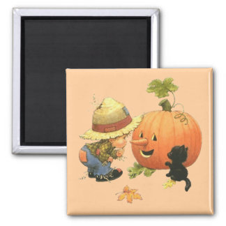 Small the gar�on and the pumpkin - 2 inch square magnet