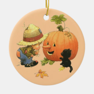 Small the gar�on and the pumpkin - ceramic ornament