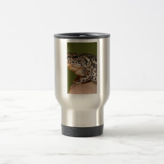 Small Toad Frog on finger against green door Mugs
