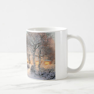 Small Town Americana; Brothers Walking In New Snow Coffee Mug