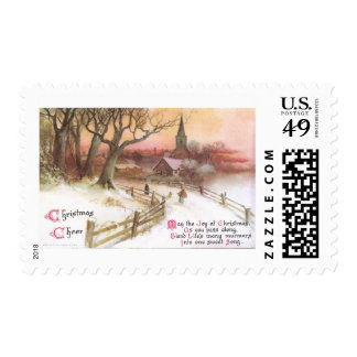 Small Town and Church at Sunset in Winter Postage